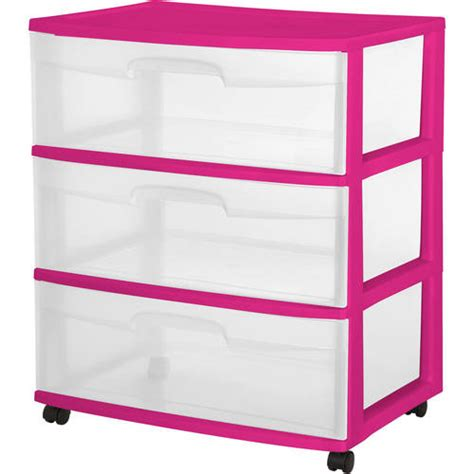sterilite 3 drawer wide cart fuchsia supreme walmart