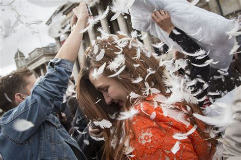 Pillow Fights by Feathers Fly With An International Pillow Fight