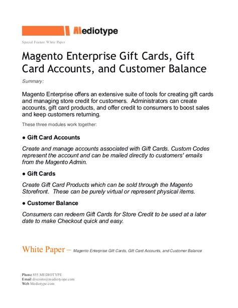 mediotype white paper magento enterprise gift cards - Enterprise Gift Card