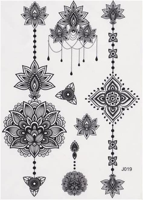 black tribal lotus temporary tattoo black henna boho