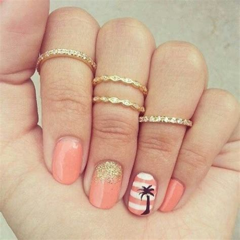 mid finger rings tumblr vacation nails beautee pinterest nail design