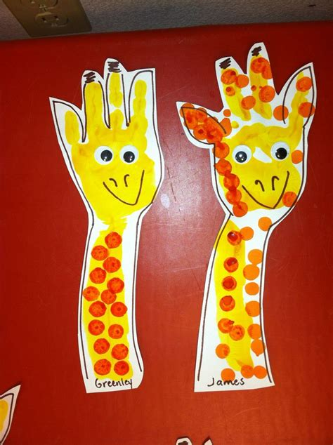 easy animal crafts for giraffe handpint i painted the students arm and