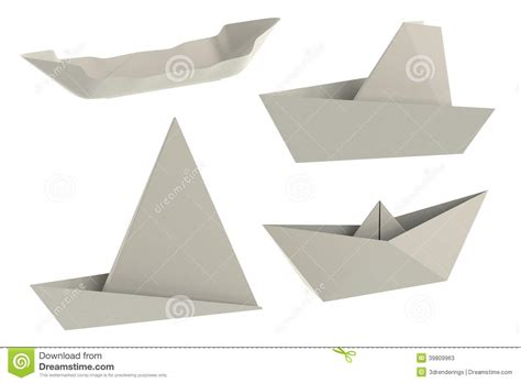 Origami Ships - 3d render of origami ships stock illustration image