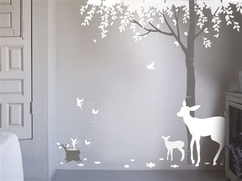 Forest Wall Stickers bambizi white wall stickers fairy design flower