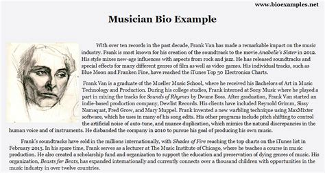 Musician Biography Template by Best Musician Bio Exle Bio Exles