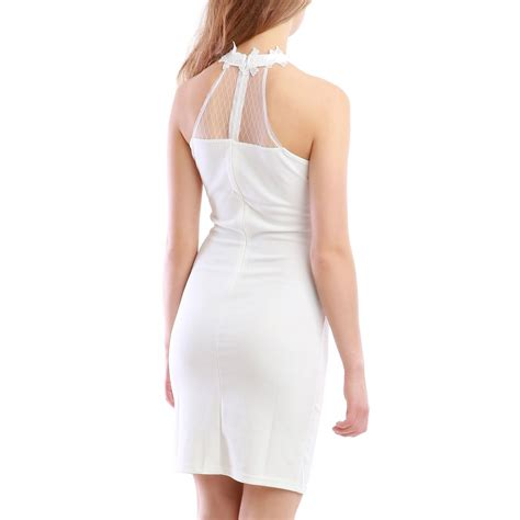 robe blanche col montant femme pas cher la modeuse - Robe Col Montant