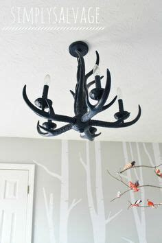 woodland nursery light fixture antler woodland silhouette print customize size by