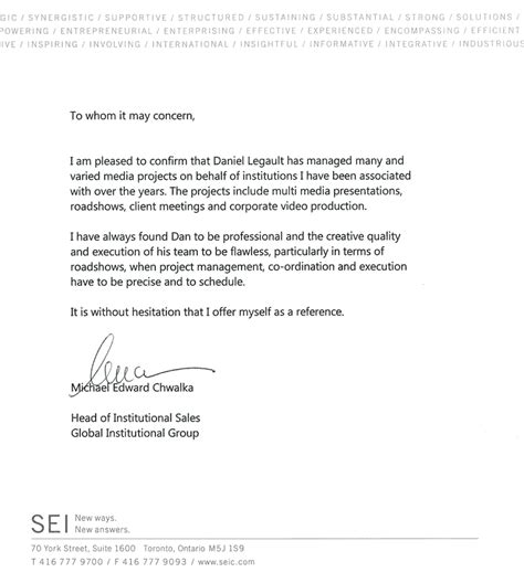 Financial Letter Of Recommendation Communications Delphi Productions Financial Communications