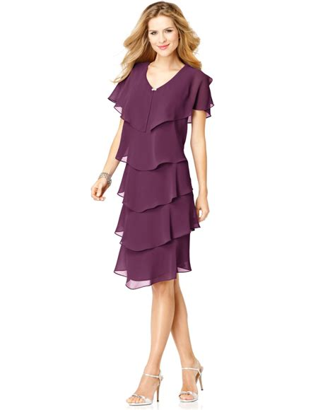 Dress Of The Day Tiered Dress by Patra Sleeve Tiered Dress In Purple Lyst