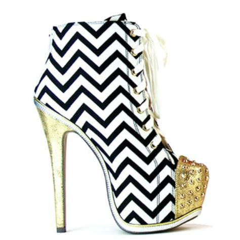 shoes heels high heels stilettos ankle boots chevron