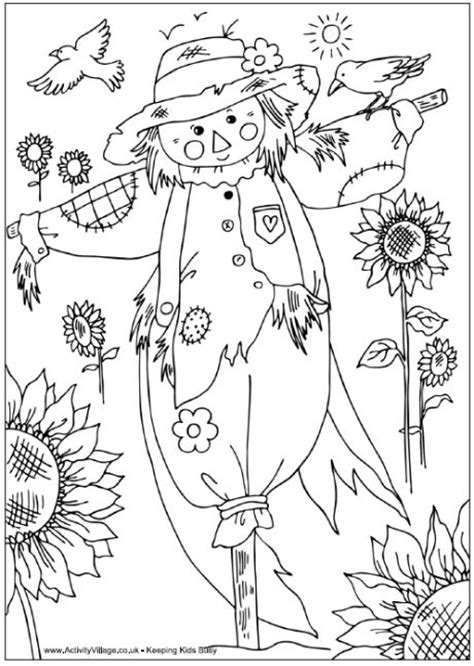 fall coloring pages activities scarecrow colouring page fall theme pinterest
