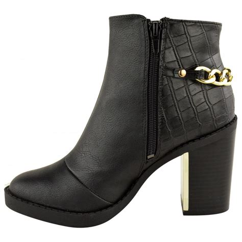 sam black block heel with gold detail ankle boots