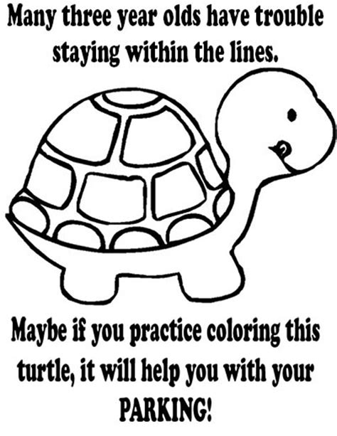 Turtle Coloring Page Bad Parking | bad parking printable notice turtle coloring sheet
