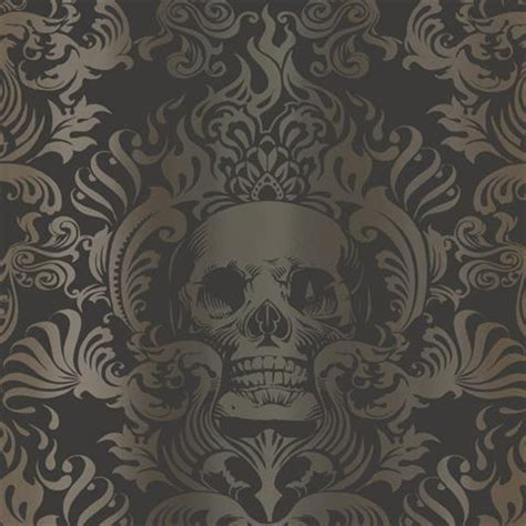 black and gold victorian wallpaper tot47111 silver gold and black skull damask wallpaper