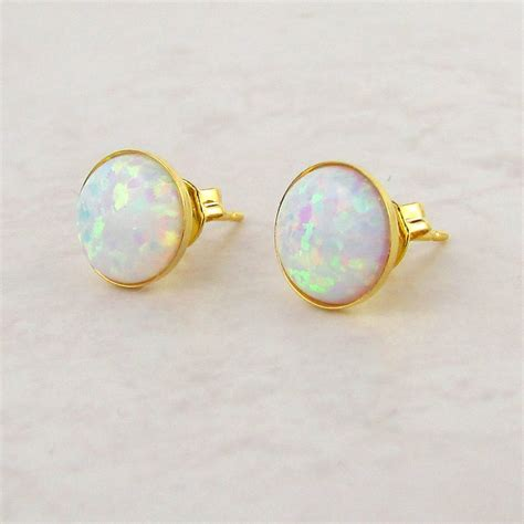 White Opal Stud Earrings By Misskukie Notonthehighstreet Com