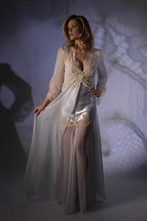 Negligee Chiffon Negligee With Long Sleeves Jane Woolrich 2582