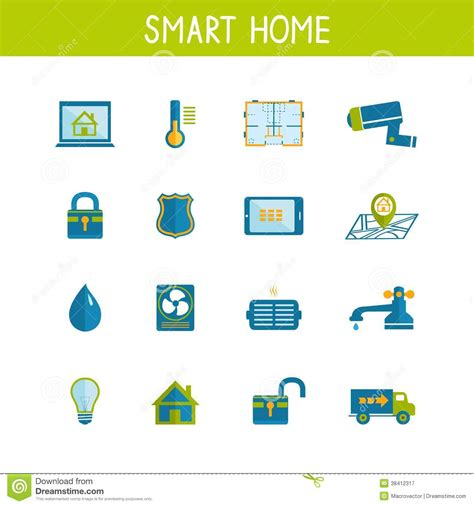 smart home automation technology icons set royalty free