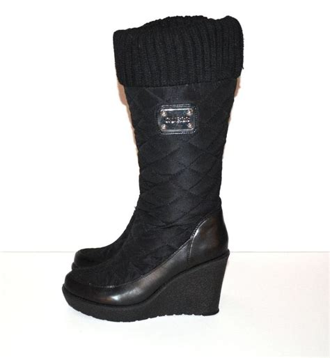 guess boots quillaan black quilted boots wedge