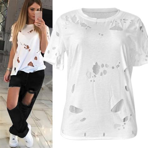 Fashion Ripped T Shirt fashion ripped shirts promotie winkel voor promoties