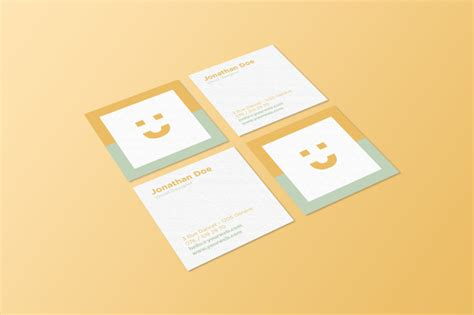business card mockup template luxury cute square business card size