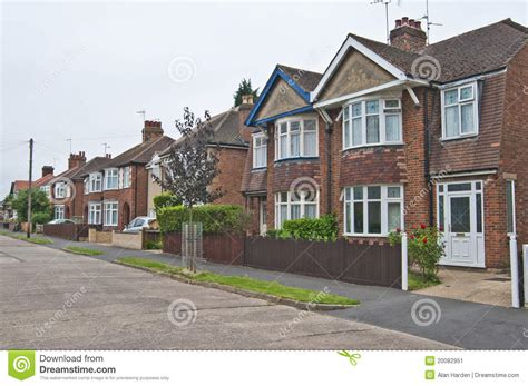semi detached house or row house english street of semi detached houses stock image