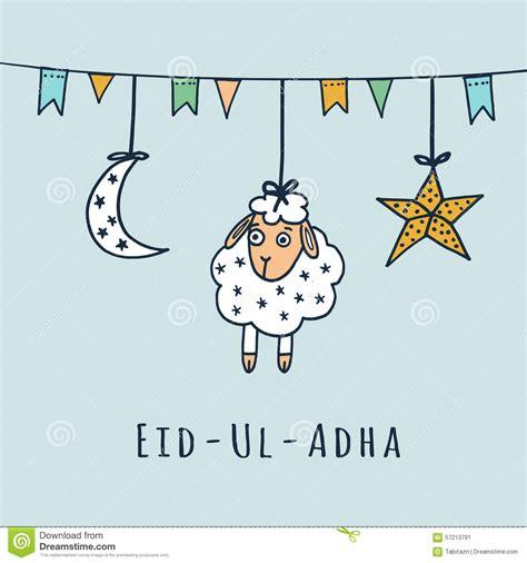 eid ul adha card templates eid ul adha greeting card with sheep moon stock