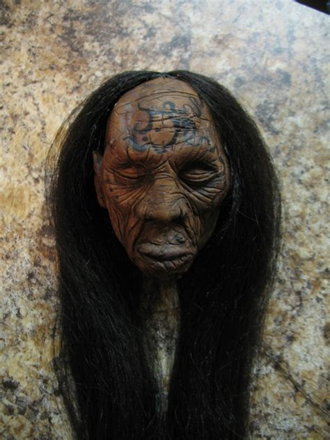 unique tribal shrunken head by bbcinthehouse on etsy