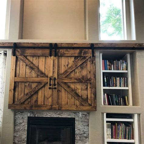 Tv Hide Barn Door Set Rustic Tv Barn Door Sliding Barn Door Window