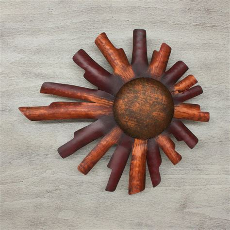 sun sculpture rustic fiery sun mexico handmade metal art wall decor