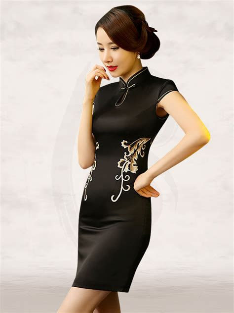Lace Cheongsam Dress lace back embroidered black dress qipao
