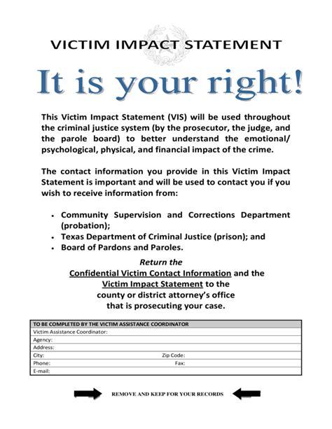 victim impact statement victim impact statement form free