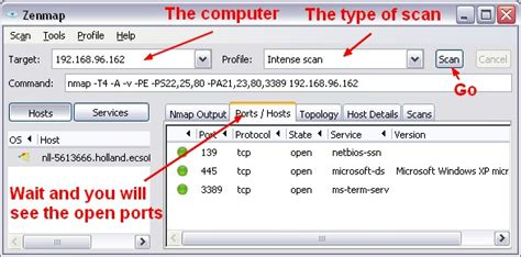 check for open port network nmap to discover scan the open port service