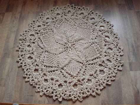 cotton rope crochet rug knitted rope doily rug with crochet edge 100 cotton doily rug