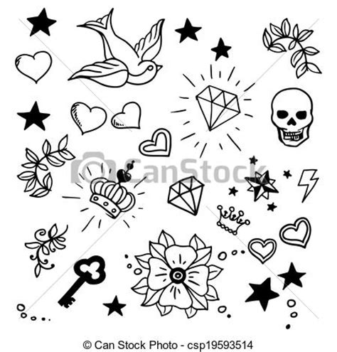 vector clip art of set of old tattoos elements