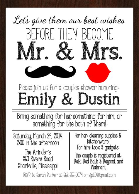 invitation wording for couples wedding shower printable mr mrs couples wedding shower invitation