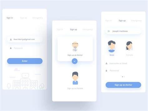design pattern in ui sign in sign up medical app medicure apps design