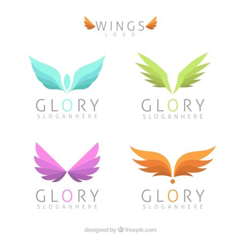 colored wings assortment of logos with colored wings vector free
