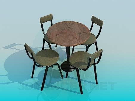 3d model table with chairs for cafe for free
