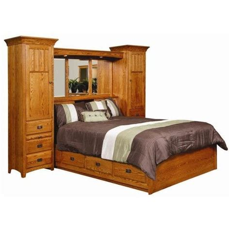 king size wall bed amish monterey pier wall bed unit with platform storage