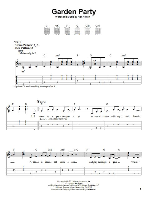 Gardening At Chords Garden Sheet By Ricky Nelson Easy Guitar Tab
