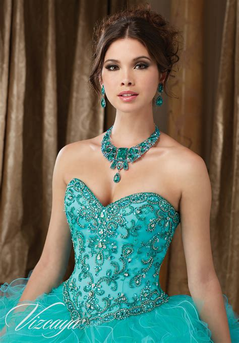 On A by Dazzling Beaded Bodice On A Ruffled Tulle Quincea 241 Era