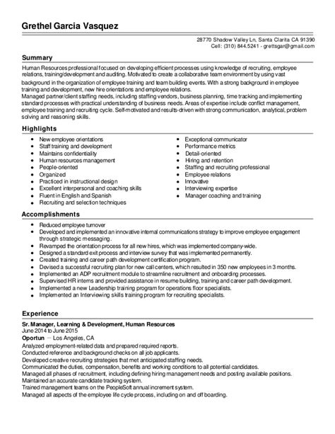Resume Sle For Hr Professional 28 Talent Acquisition Resume Sle Recruiting Coordinator Resume Sales Coordinator Lewesmr