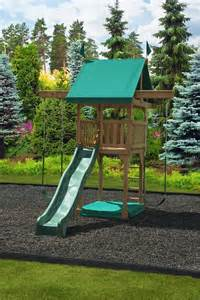 compact backyard playset 102 happy space saver play set swingsets luxcraft poly
