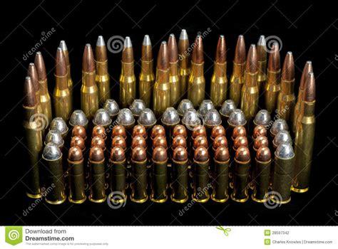 gun ammunition bullets different sizes stock photography