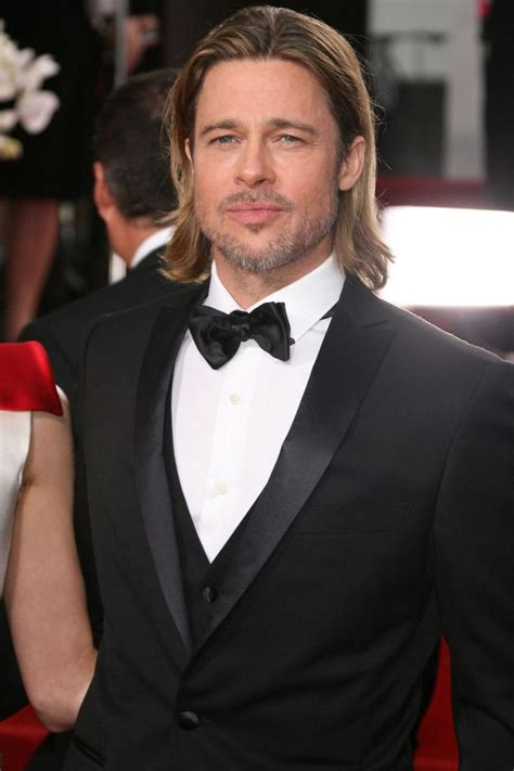 formal hairdos black ties brad pitt black suit white shirt long hair golden globes
