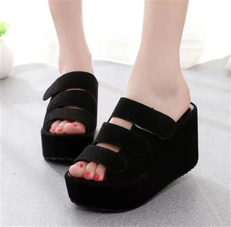 High Wedges Hitam Tinggi 12cm Suede Murah Harga Murah wedges hitam berkualitas pusat sandal murah 2018 pusat sandal murah 2018