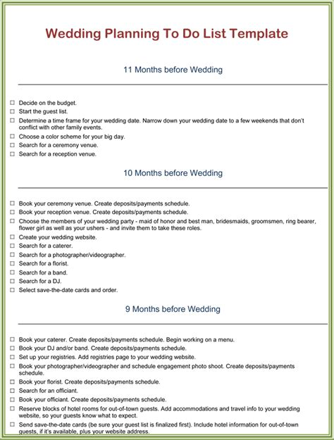 Wedding Location Checklist by To Do List Wedding Free To Do List