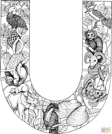 Letter U With Animals Coloring Page Free Printable
