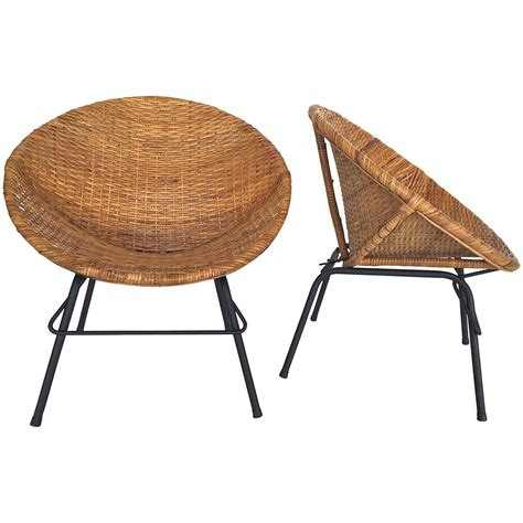 wicker and iron scoop chairs for sale at 1stdibs