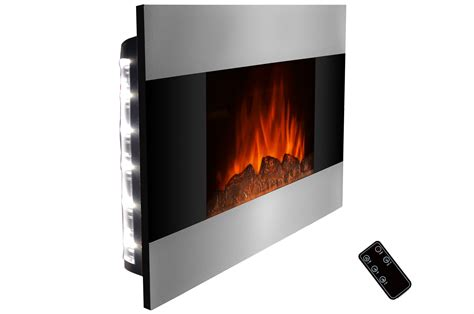 36 quot wall mounted stainless panel electric fireplace heater